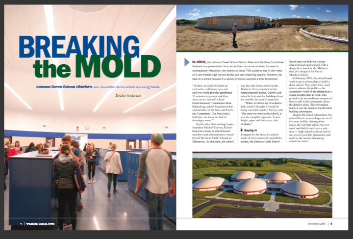 School board magazine features Wisconsin's first dome school